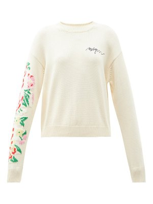 MSGM floral-intarsia logo-embroidered cotton sweater
