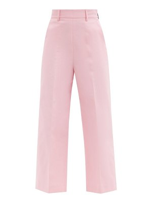MSGM high-rise cotton-twill cropped-leg trousers