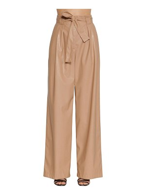 MSGM High waisted wide leg faux leather pants