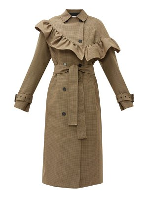 MSGM houndstooth ruffle trim wool blend trench coat