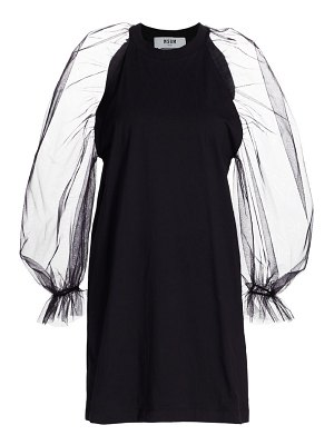 MSGM long-sleeve organza mini dress