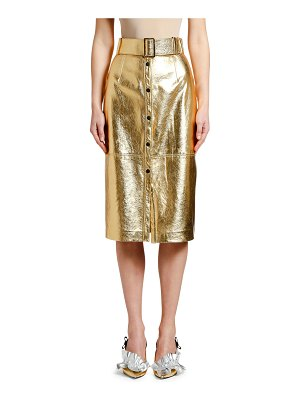 MSGM Metallic Belted Midi Skirt