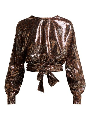 MSGM leopard-print sequinned open-back blouse