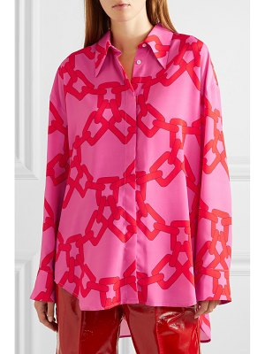MSGM oversized printed georgette shirt