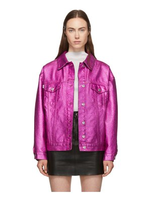 MSGM pink coated denim metallic jacket