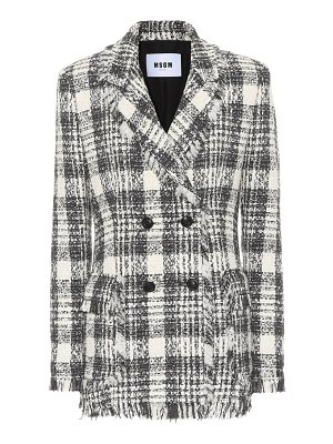 MSGM Plaid cotton-blend tweed blazer