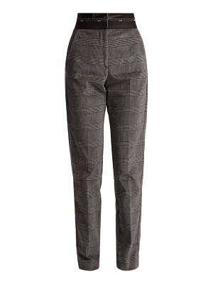 MSGM Prince of Wales-check brushed-velvet trousers