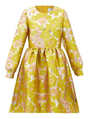 MSGM puffed-sleeve floral-brocade mini dress