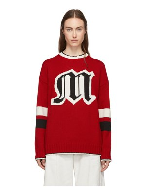 MSGM red knit logo sweater