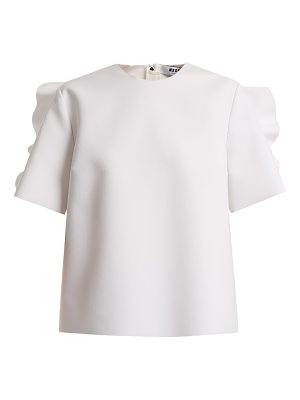 MSGM Round-neck ruffle-trimmed crepe top