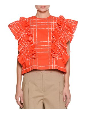 MSGM Short-Sleeve Logo-Print Ruffle Cotton Top