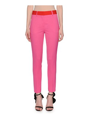 MSGM Skinny Suiting Pants with Contrast Waist