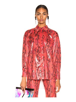MSGM Snakeskin Button Down Top