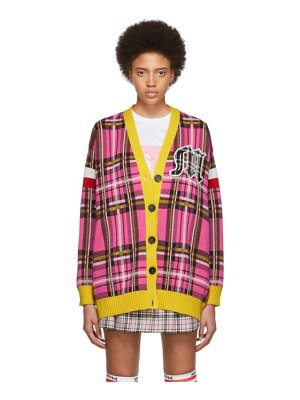 MSGM ssense exclusive pink and yellow check varsity cardigan