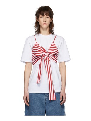 MSGM ssense exclusive white and red striped bra t-shirt