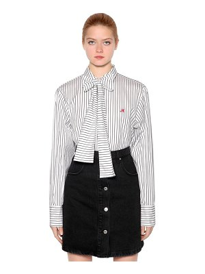 MSGM Striped cotton poplin shirt w/ bow