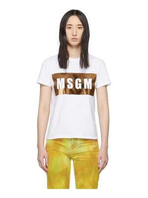 MSGM white and gold logo t-shirt