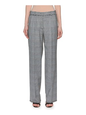MSGM Wool Straight-Leg Plaid Trousers