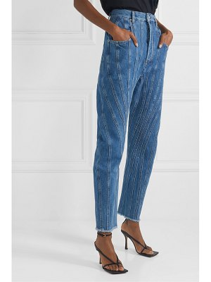 Mugler frayed paneled high-rise straight-leg jeans