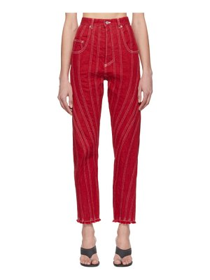 Mugler red seam jeans