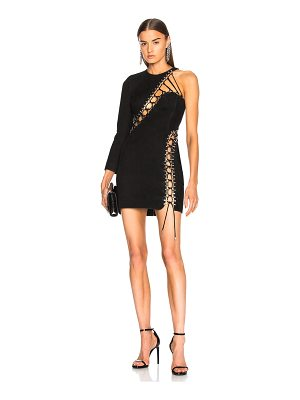 Mugler Suede Lace Up Detail One Shoulder Mini Dress