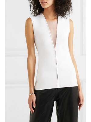 Mugler tulle-trimmed stretch-knit top