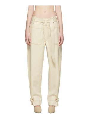 Mugler white raw denim trousers
