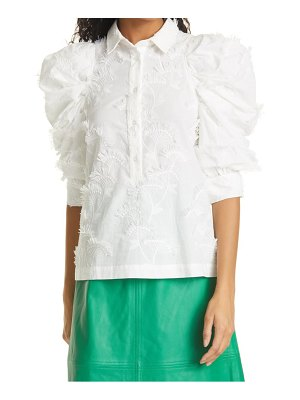 MUNTHE temple embroidered ruched sleeve organic cotton blend blouse