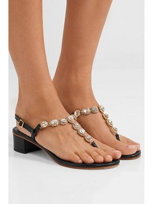 Musa crystal-embellished textured-leather sandals