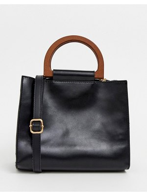 My Accessories london black grab bag with wooden handles