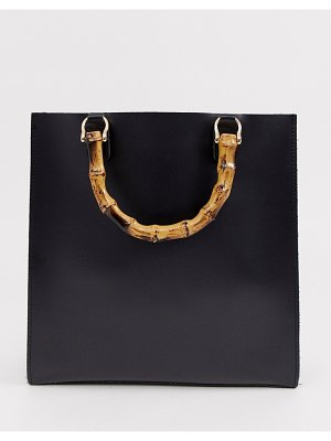 My Accessories london black grab statement bag with bamboo handle