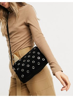 My Accessories london boxy cross body bag in black suedette with eyelet detail