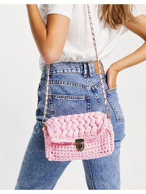My Accessories london crochet cross body bag in pink with chain strap