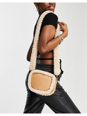 My Accessories london cross body bag in camel with white teddy trim-brown