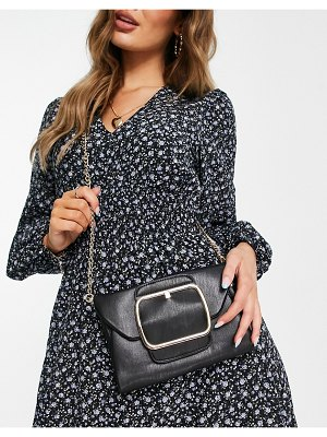 My Accessories london cross body bag with oversized buckle in black