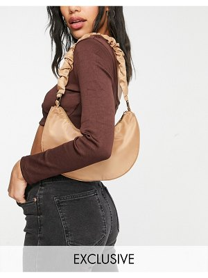 My Accessories london exclusive curved shoulder bag in camel nylon with ruched strap-neutral