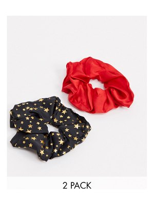 My Accessories london exclusive multipack x 2 scrunchie in satin with star detail