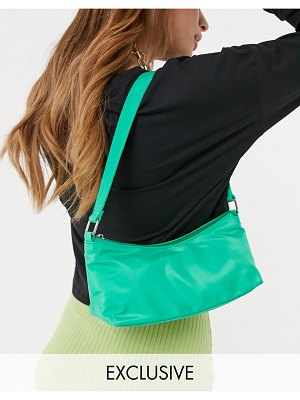 My Accessories london exclusive nylon shoulder bag in green with front zip