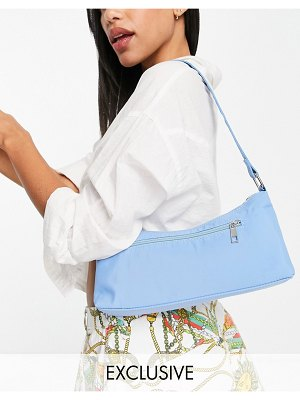 My Accessories london exclusive nylon shoulder bag in light blue with front zip-blues