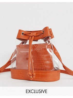 My Accessories london exclusive paneled clear & mock croc drawstring bucket bag-multi