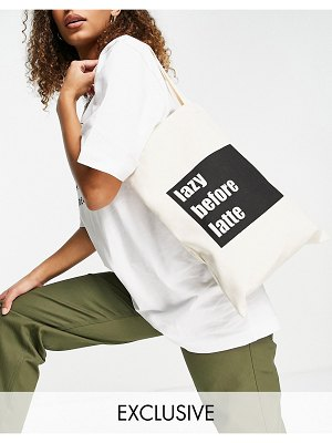 My Accessories london exclusive recycled tote bag in white with slogan