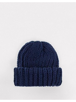 My Accessories london ribbed beanie in navy