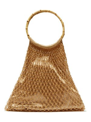 MY BEACHY SIDE aphrodite bamboo-handle beaded crochet bag