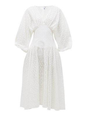 MY BEACHY SIDE ruched-sleeve broderie-anglaise cotton midi dress