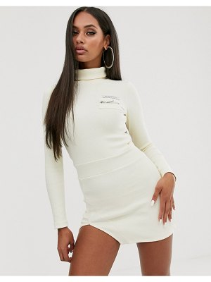 My Mum Made It bodycon dress with front logo and split in rib-cream