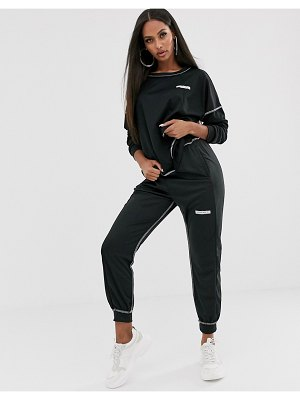 My Mum Made It relaxed sweatpants with logo and contrast stitching two-piece-black