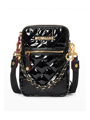 MZ Wallace Patent Quilted Micro Crossbody Bag