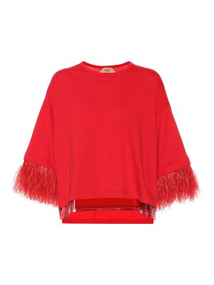 N°21 Feather-trimmed cotton top