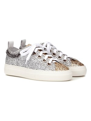 N°21 Glitter and leather sneakers
