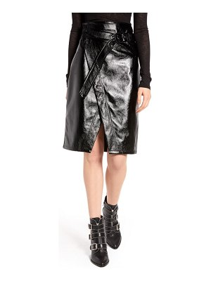NA-KD belted faux patent skirt